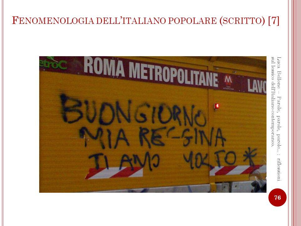 Fenomenologia dell'italiano popolare (scritto) [7]